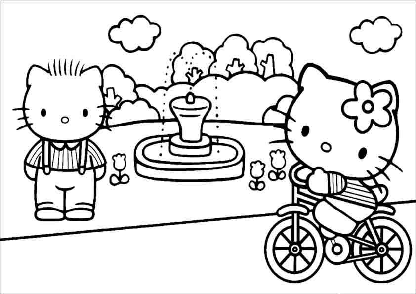 Hello Kitty fährt mit dem Fahrrad