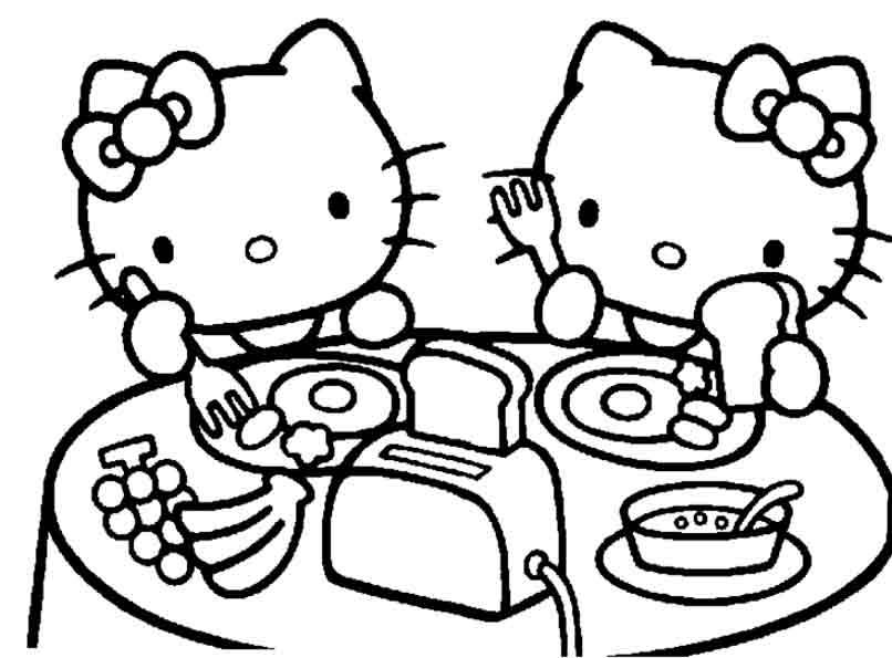 Hello Kitty und ihre Schwester zum Mittagessen