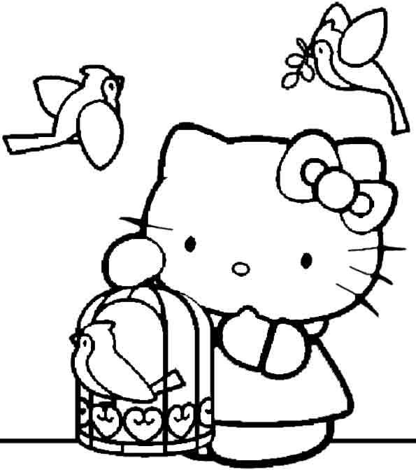 Hello Kitty und Vögel