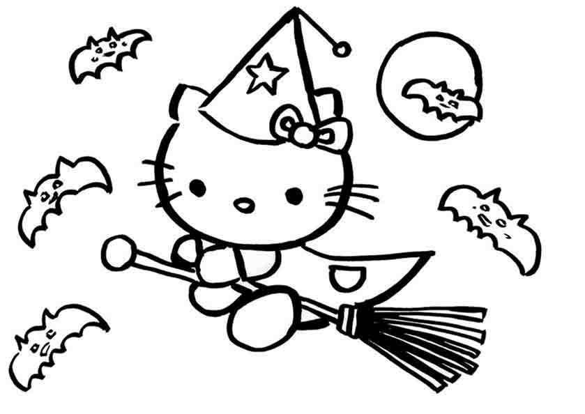 Hello Kitty ist eine Hexe auf einem Besen