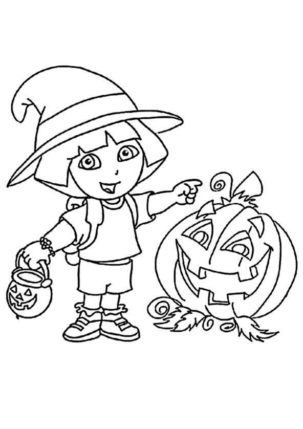 Malvorlagen Dora auf Halloween